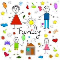 Collection of children drawings. Happy family. Vector Illustration.
