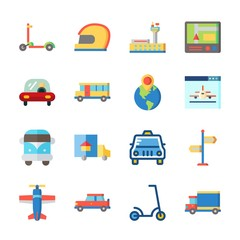 icon Transportation with bus, helmet, plane, scooter and gps