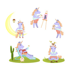 Set of funny Unicorn