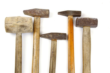 Many kind of Hammers on white background