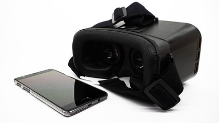 Virtual reality electronics: a mobile phone and VR headset