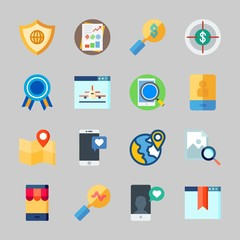 Icons about Seo with stats, zoom, discover, plane, shield and map