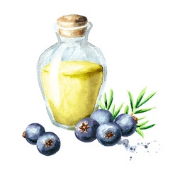 Glass of Juniper essential oil. Watercolor hand drawn illustration, isolated on white background