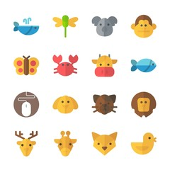 icon Animals with fish, lion, dragonfly, monkey and giraffe