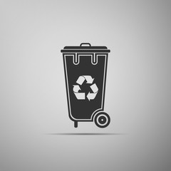 Recycle bin with recycle symbol icon isolated on grey background. Trash can icon. Flat design. Vector Illustration