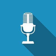 Microphone icon isolated with long shadow. Flat design. Vector Illustration