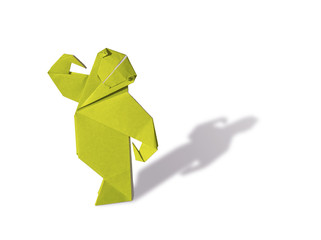 Origami Monkey isolated on white