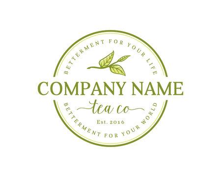 Line Art Leaf of the Tea Sign Symbol Vintage Circle  Logo Company Vector