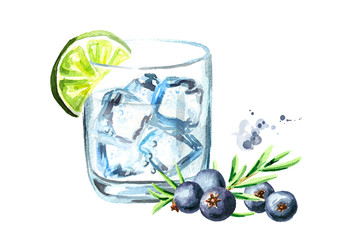 Glass of Gin tonic with ice cubes, juniper and lime. Watercolor hand drawn illustration, isolated on white background