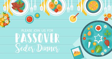 Passover seder dinner table
