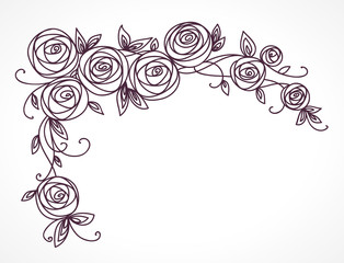 Stylized rose flowers bouquet. Branch of flowers and leaves interlacing. Corner horizontal decorative composition