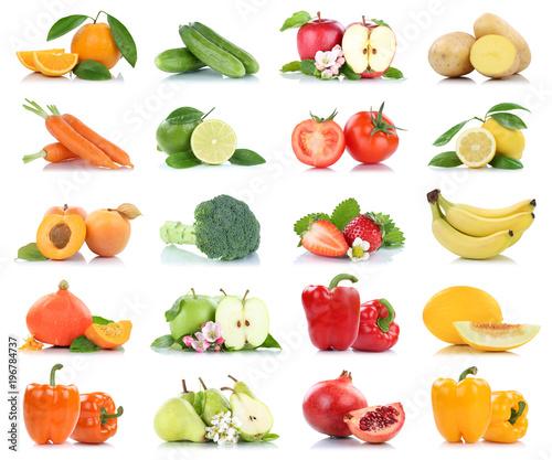 Früchte Obst und Gemüse Apfel Tomaten Orange Birne Karotten Beeren ...