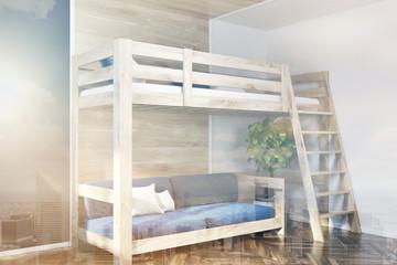 Loft bed and a blue sofa interior toned