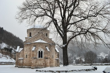 Orthodox monastery in the snow