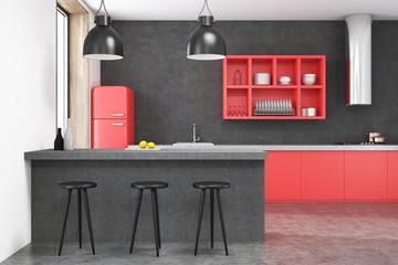 Gray kitchen interior, red fridge