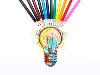 Colorful light bulb, pencils, idea concept