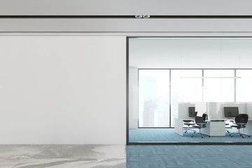 Blue floor open space office interior mock up wall