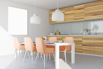 White and wooden dining room and kitchen, poster