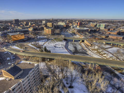 Downtown Sioux Falls Skyline in South Dakota During Winter