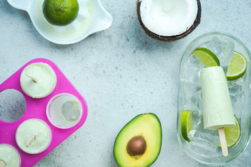 Avocado,lime and coconut healthy trendy popsicles