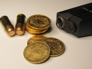 gold coins and bullets