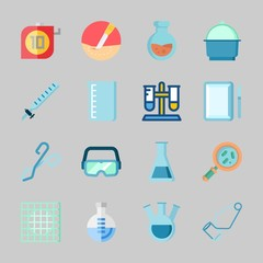 Icons about Laboratory with surgery, loupe, beaker, lab, crucible and test tube
