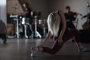 dancers improvise on floor