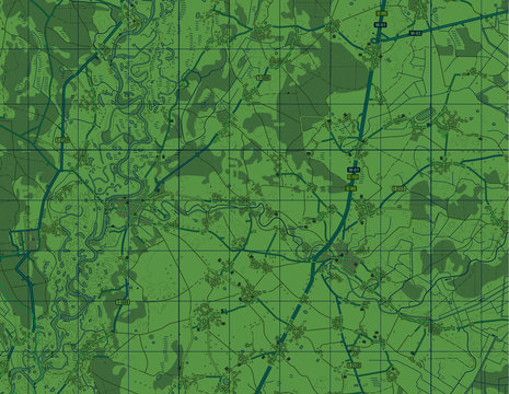 Abstract geographical map. Green vector image. Background monochrome. military map