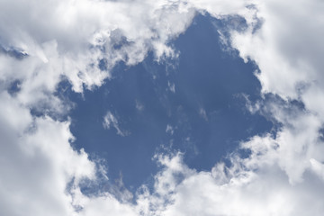 on the blue sky cumulus white clouds