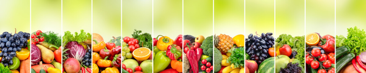 Panoramic collage vegetables and fruits on blurred green background.