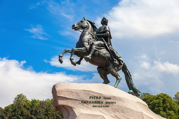 Equestrian monument of Russian emperor Peter the Great (Peter First)