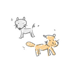 二匹の野良犬。落書き風ゆるいイラスト