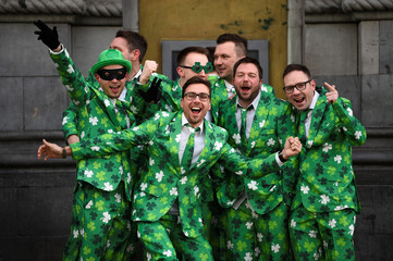 People wear Shamrock suits on St. Patrick's Day in Dublin