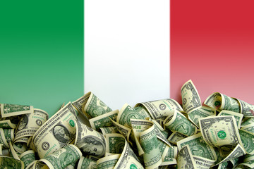 Italy flag with US Dollars