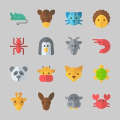 Icons about Animals with penguin, turtle, kangaroo, hippopatamus, prawn and hedgehog