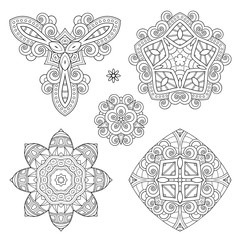Vector Set of Monochrome Elements. Abstract Objects Isolated On White Background. Ethnic Decorative Ornament