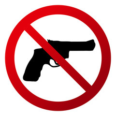 "Simple, circular ""No firearms allowed"". Red gradient sign, black silhouette. Isolated on white"