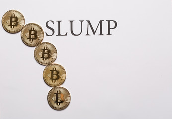 Bitcoin and cryptocurrencies slump concept