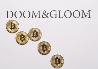 Bitcoin and cryptocurrencies doom&gloom concept