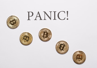 Bitcoin and cryptocurrencies panic concept
