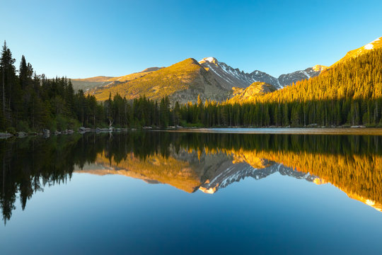 Bear Lake with mountains reflecting in the water, Colorado