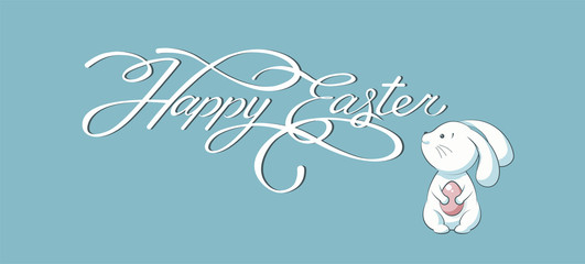 Banner inscription, hand lettering, calligraphy, typography Happy Easter bunny blue background
