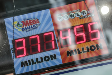 Powerball prize displays at a store in New York City