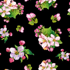 Watercolor seamless pattern of flowering branches of Apple trees.