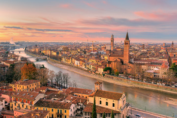 Verona, Veneto, Italy. Panoramic view of Verona from Piazzale Castel San Pietro Wall mural