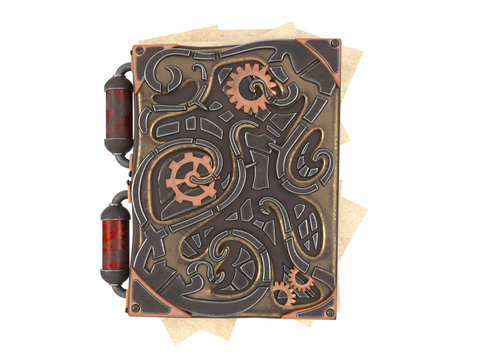 closed steampunk book with iron insets on isolated white background .3d illustration