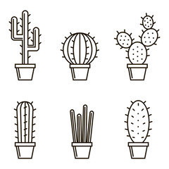 collection of cactus icons in the pots