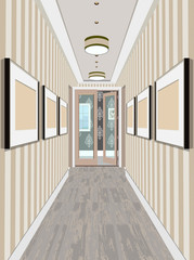Modern Classic Hall Hallway Corridor In Old Vintage Apartment. Hallway illustration.
