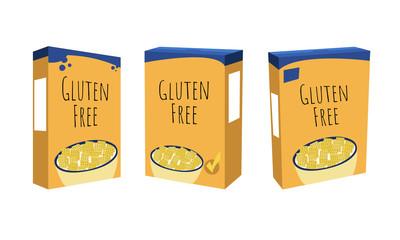Gluten free breakfast cereal box set vector illustration