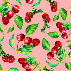 Watercolor seamless pattern of cherry berries.